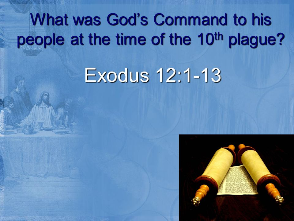 What was God's Command to his people at the time of the 10 th plague Exodus 12:1-13