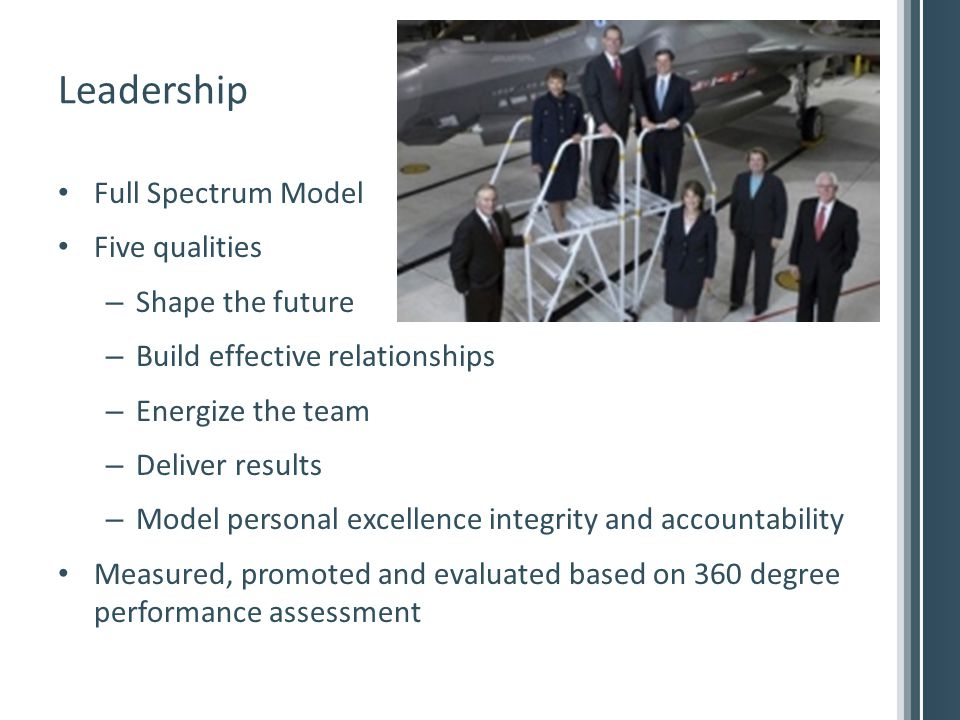 Leadership Full Spectrum Model Five qualities – Shape the future – Build effective relationships – Energize the team – Deliver results – Model personal excellence integrity and accountability Measured, promoted and evaluated based on 360 degree performance assessment