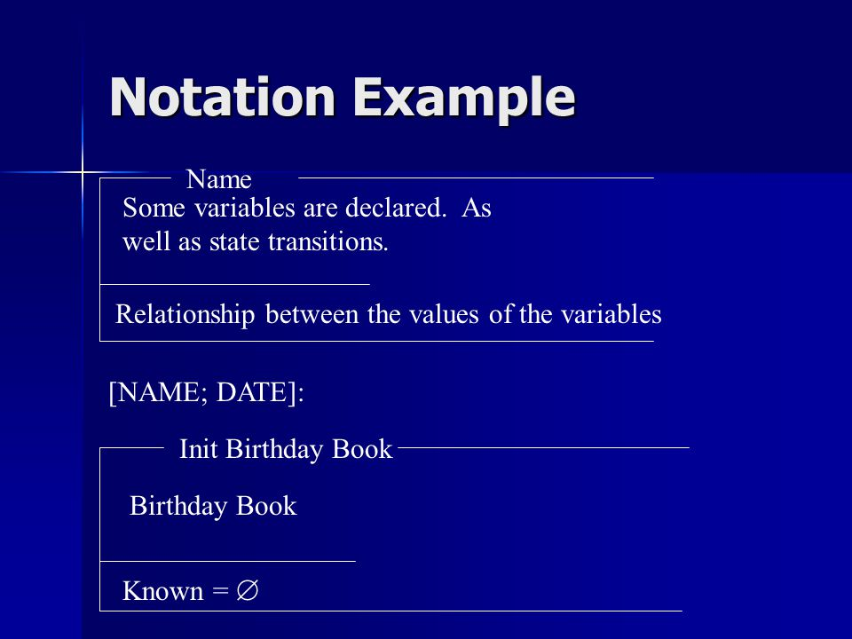 Notation Example Some variables are declared. As well as state transitions.