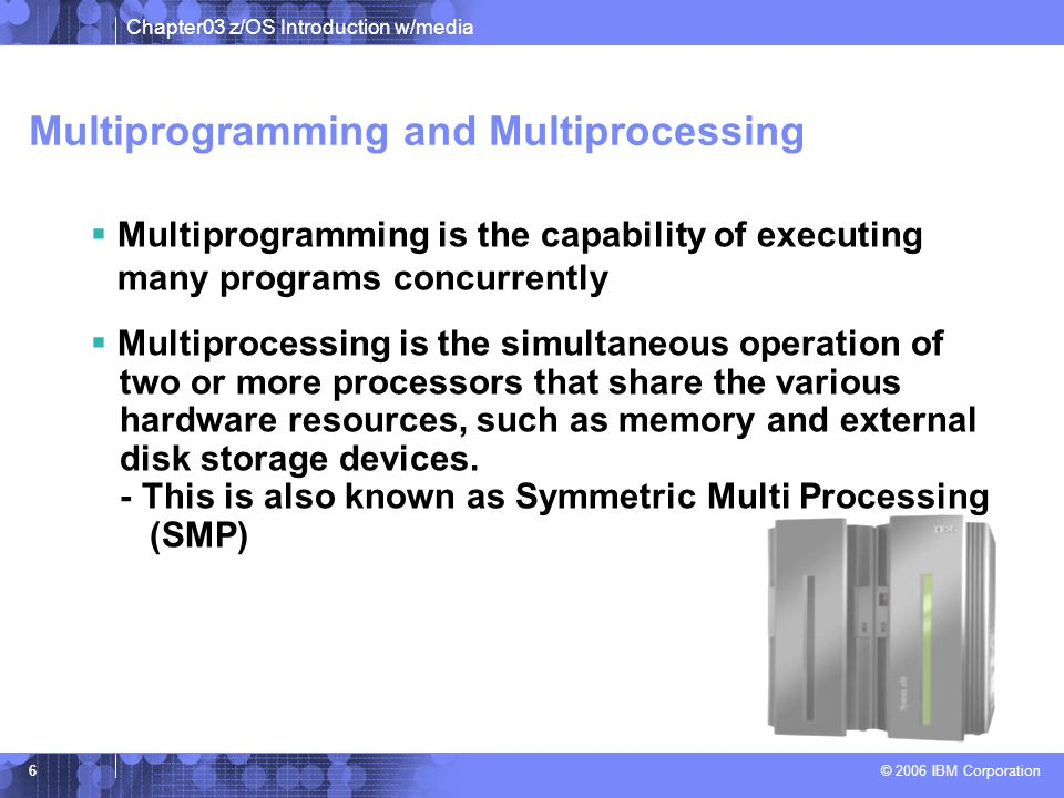 Chapter03 z/OS Introduction w/media © 2006 IBM Corporation 5 Hardware resources managed by z/OS z/OS runs here