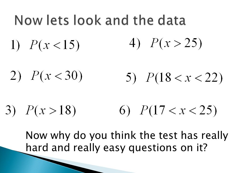 Now why do you think the test has really hard and really easy questions on it?