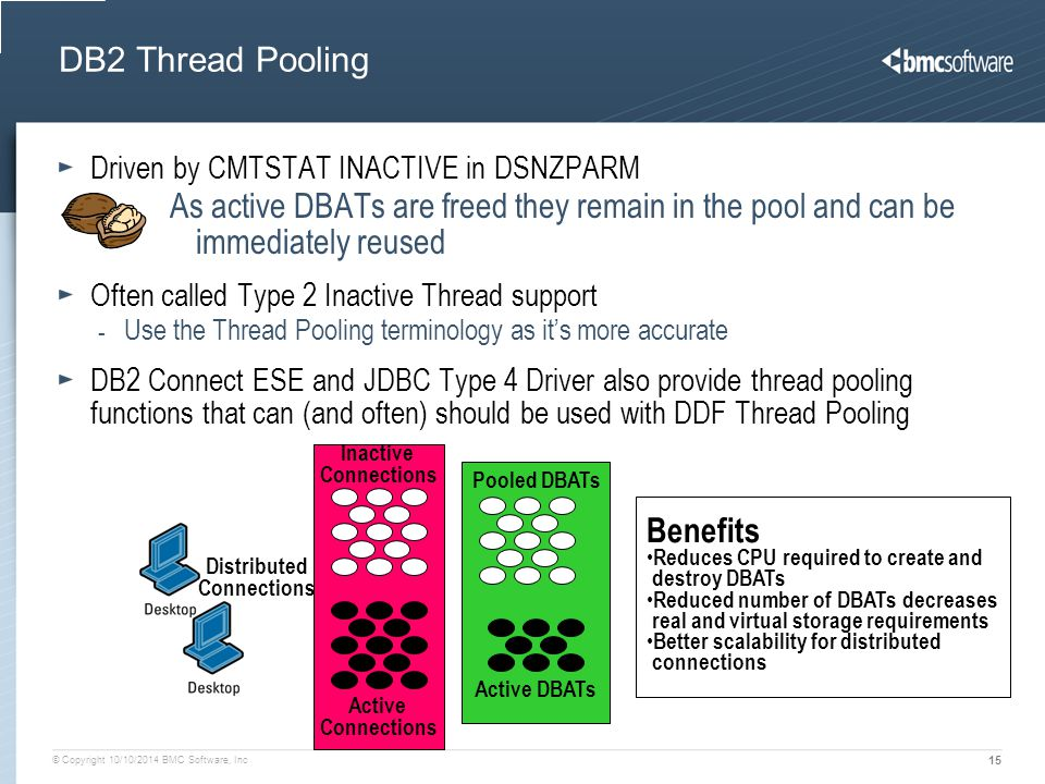 © Copyright 10/10/2014 BMC Software, Inc 15 DB2 Thread Pooling Driven by CMTSTAT INACTIVE in DSNZPARM As active DBATs are freed they remain in the poo