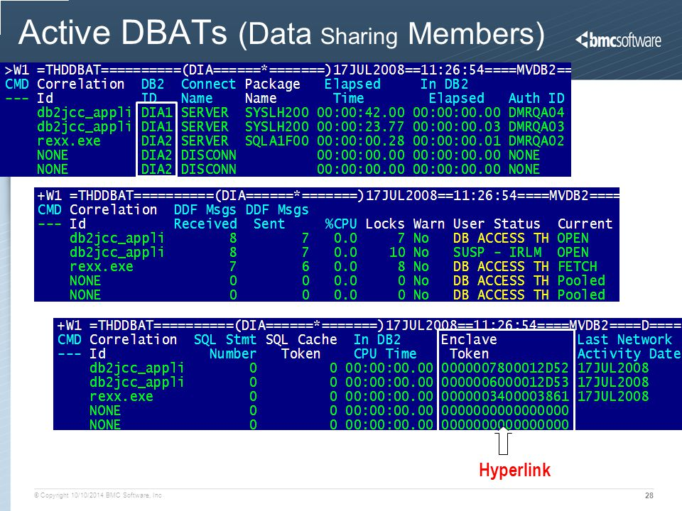 © Copyright 10/10/2014 BMC Software, Inc 28 Active DBATs (Data Sharing Members) Hyperlink