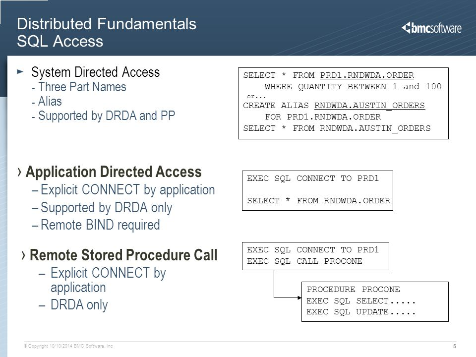© Copyright 10/10/2014 BMC Software, Inc 5 Distributed Fundamentals SQL Access System Directed Access - Three Part Names - Alias - Supported by DRDA a