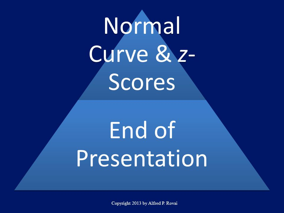Copyright 2013 by Alfred P. Rovai Normal Curve & z- Scores End of Presentation