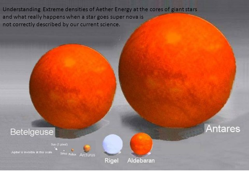 Understanding Extreme densities of Aether Energy at the cores of giant stars and what really happens when a star goes super nova is not correctly described by our current science.