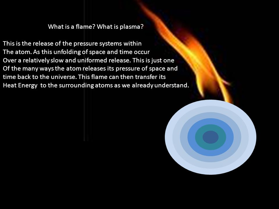 What is a flame. What is plasma. This is the release of the pressure systems within The atom.