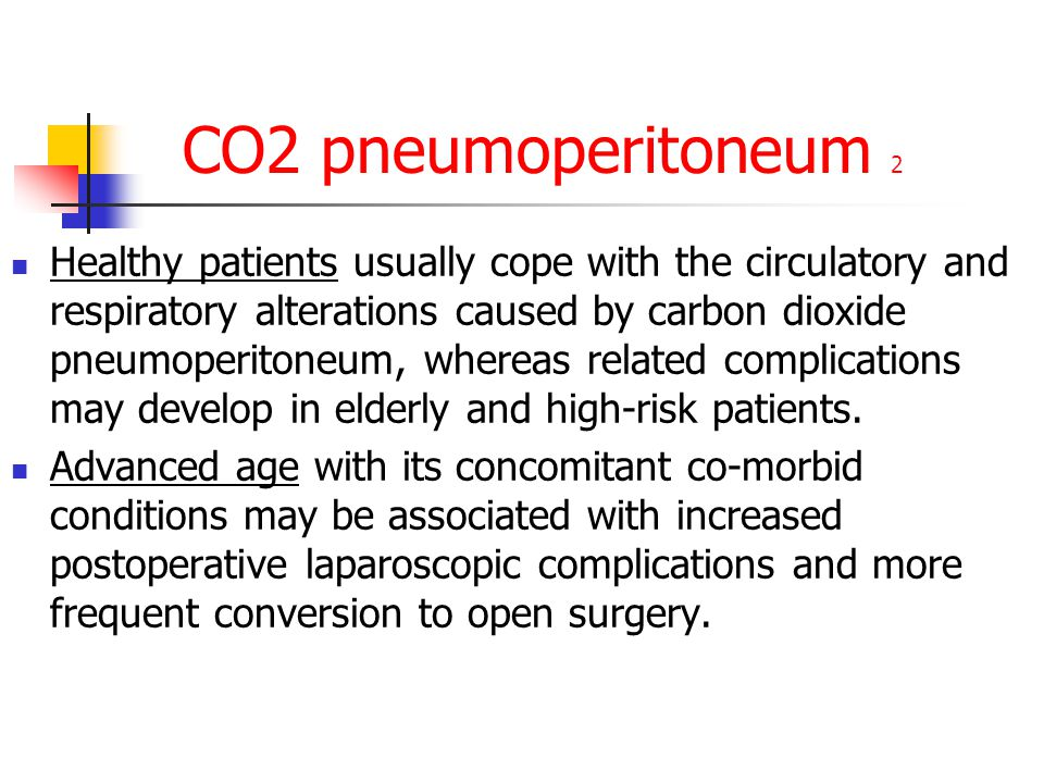 CO2 pneumoperitoneum 2 Healthy patients usually cope with the circulatory and respiratory alterations caused by carbon dioxide pneumoperitoneum, where