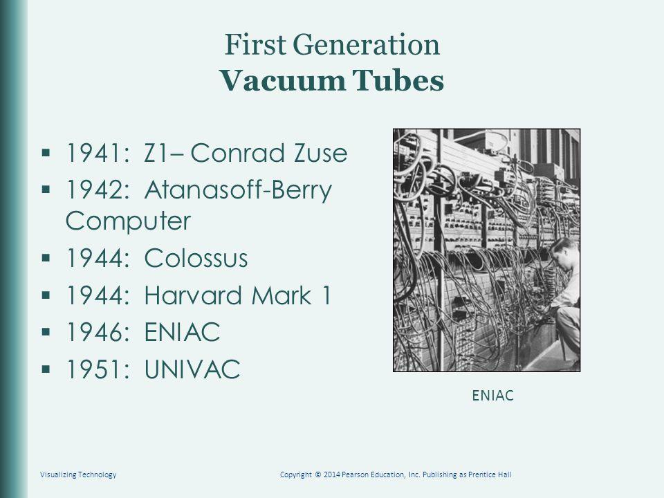 First Generation Vacuum Tubes  1941: Z1– Conrad Zuse  1942: Atanasoff-Berry Computer  1944: Colossus  1944: Harvard Mark 1  1946: ENIAC  1951: UNIVAC Visualizing TechnologyCopyright © 2014 Pearson Education, Inc.