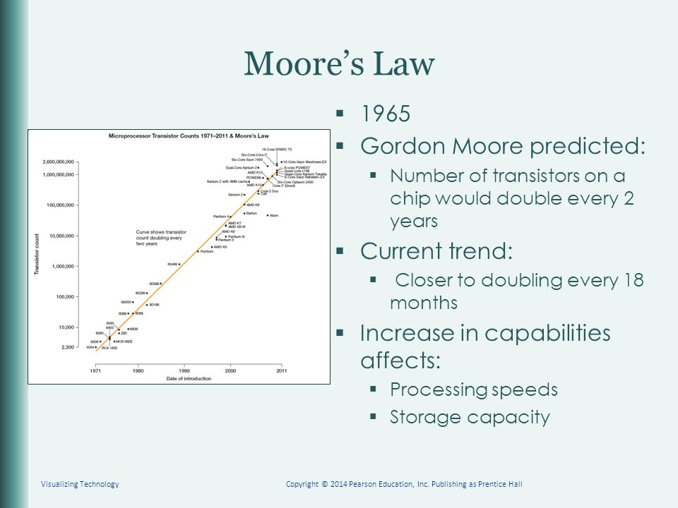 Moore's Law  1965  Gordon Moore predicted:  Number of transistors on a chip would double every 2 years  Current trend:  Closer to doubling every 18 months  Increase in capabilities affects:  Processing speeds  Storage capacity Copyright © 2014 Pearson Education, Inc.