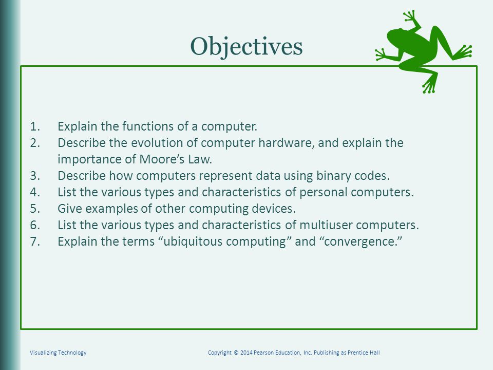 Objectives 1.Explain the functions of a computer.