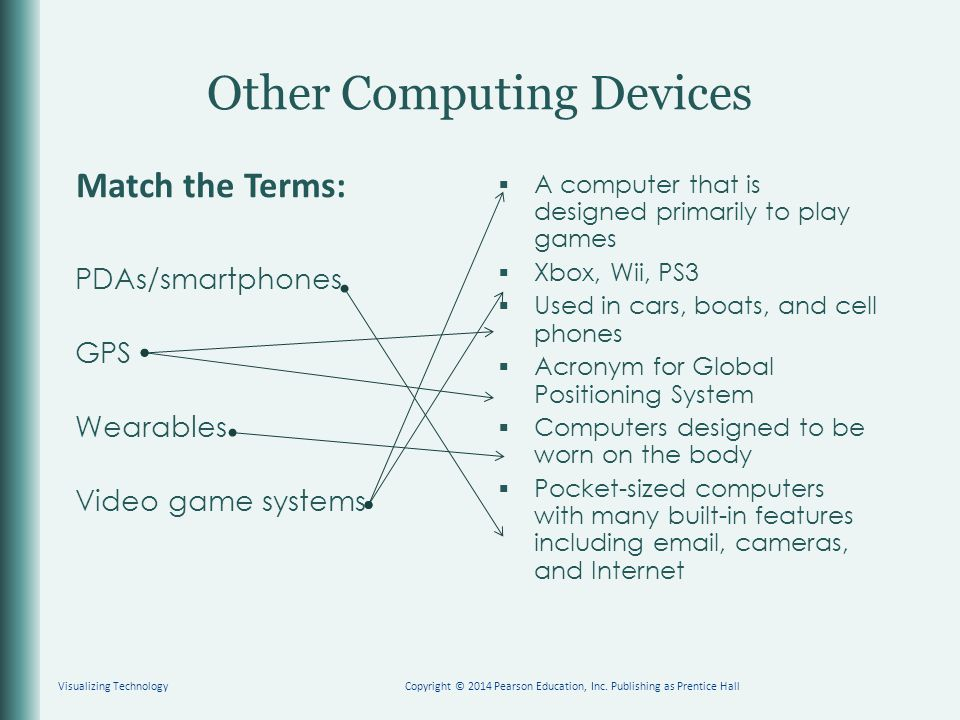 Other Computing Devices PDAs/smartphones GPS Wearables Video game systems  A computer that is designed primarily to play games  Xbox, Wii, PS3  Used in cars, boats, and cell phones  Acronym for Global Positioning System  Computers designed to be worn on the body  Pocket-sized computers with many built-in features including email, cameras, and Internet Match the Terms: Copyright © 2014 Pearson Education, Inc.