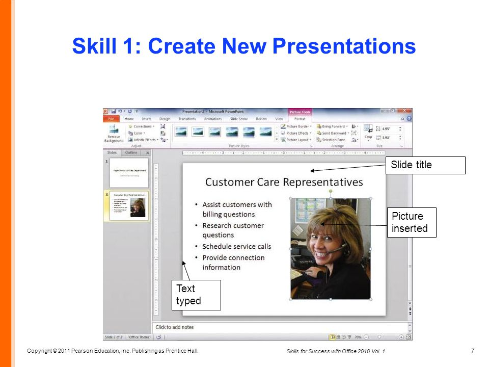 Copyright © 2011 Pearson Education, Inc. Publishing as Prentice Hall. 7 Skills for Success with Office 2010 Vol. 1 Skill 1: Create New Presentations S