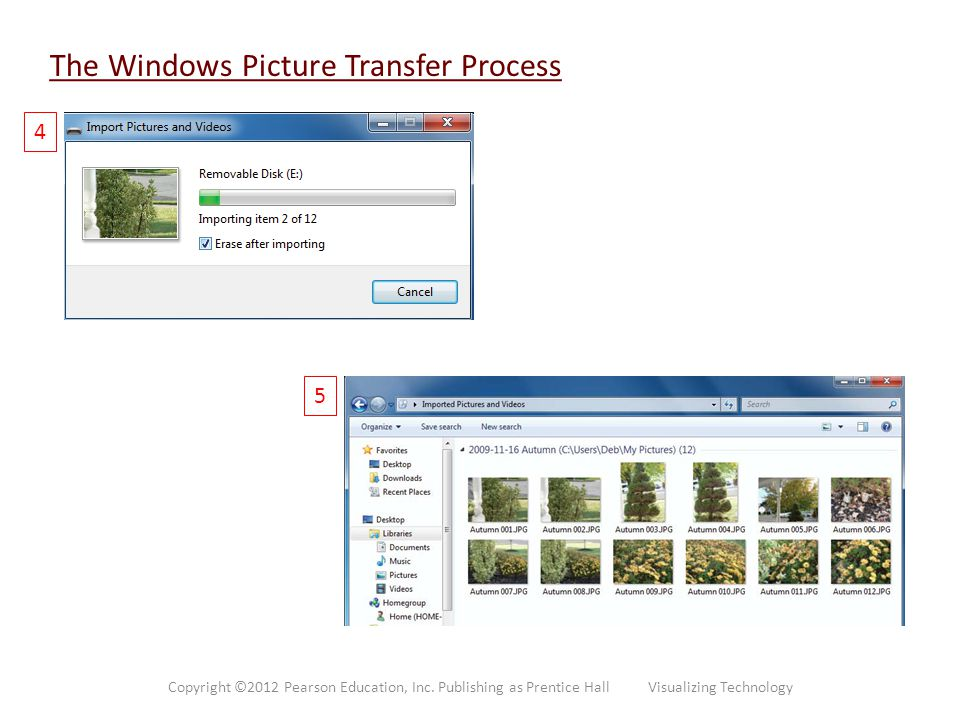 The Windows Picture Transfer Process 4 5 Copyright ©2012 Pearson Education, Inc. Publishing as Prentice Hall Visualizing Technology