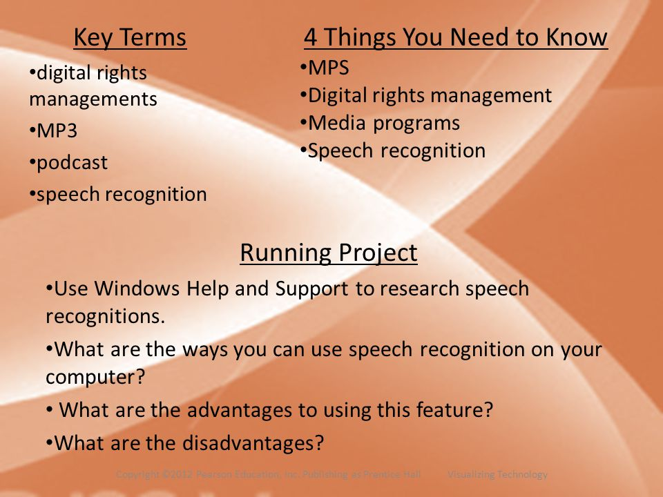 Key Terms digital rights managements MP3 podcast speech recognition 4 Things You Need to Know MPS Digital rights management Media programs Speech reco