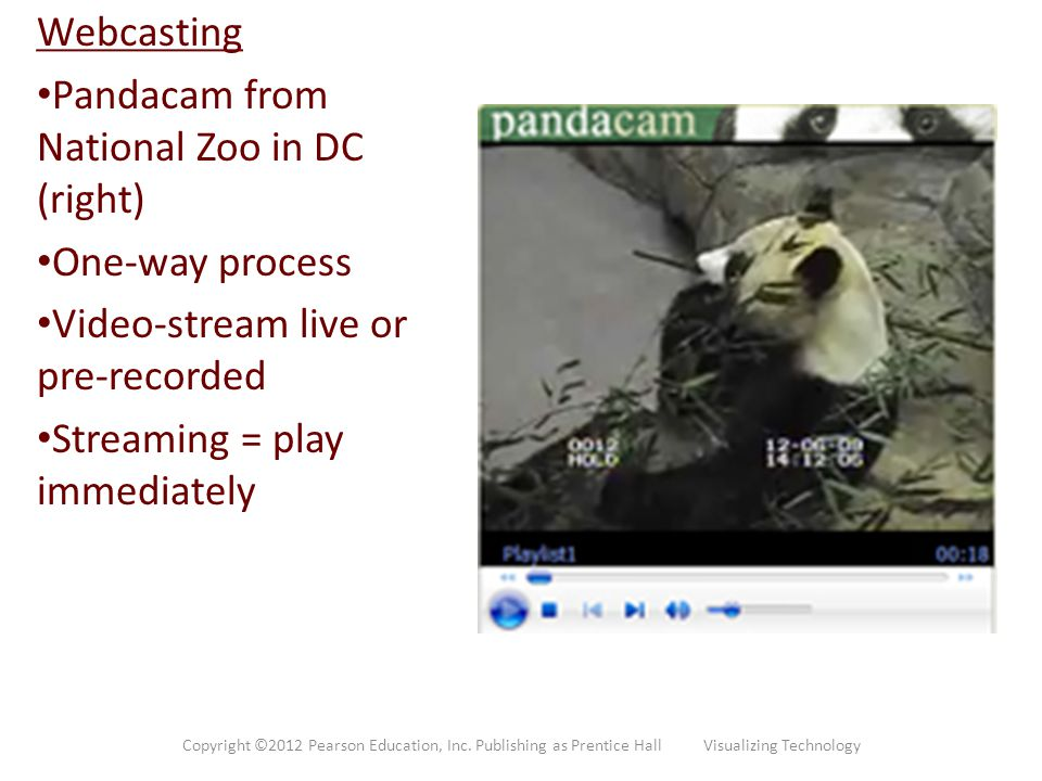 Webcasting Pandacam from National Zoo in DC (right) One-way process Video-stream live or pre-recorded Streaming = play immediately Copyright ©2012 Pea