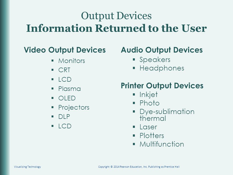 Output Devices Information Returned to the User Video Output Devices  Monitors  CRT  LCD  Plasma  OLED  Projectors  DLP  LCD Audio Output Devi