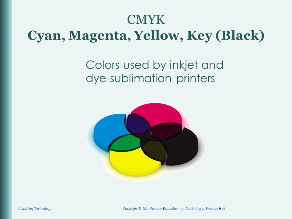 CMYK Cyan, Magenta, Yellow, Key (Black) Colors used by inkjet and dye-sublimation printers Visualizing TechnologyCopyright © 2014 Pearson Education, I