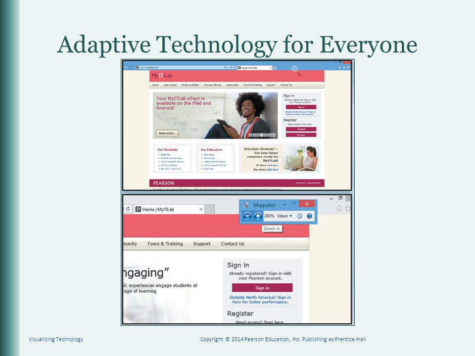 Adaptive Technology for Everyone Visualizing TechnologyCopyright © 2014 Pearson Education, Inc. Publishing as Prentice Hall