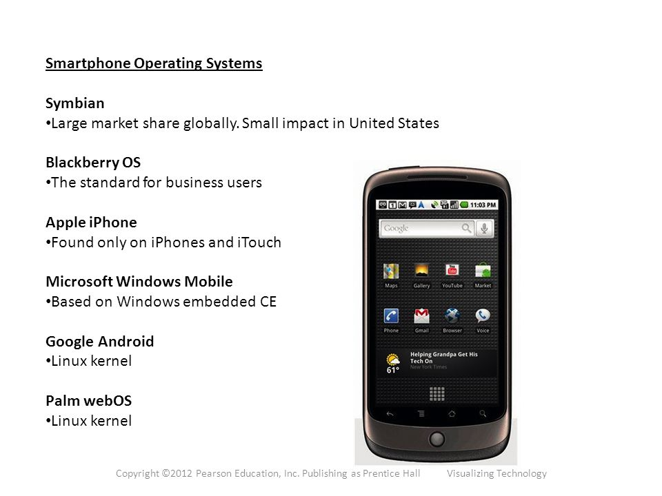 Smartphone Operating Systems Symbian Large market share globally. Small impact in United States Blackberry OS The standard for business users Apple iP