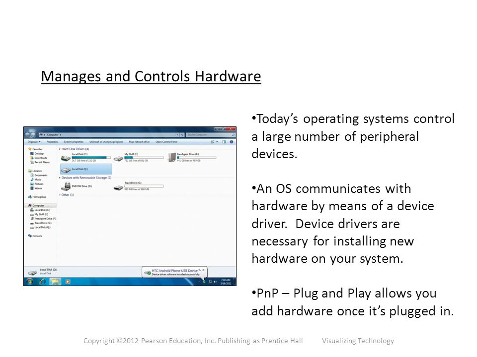 Today's operating systems control a large number of peripheral devices.