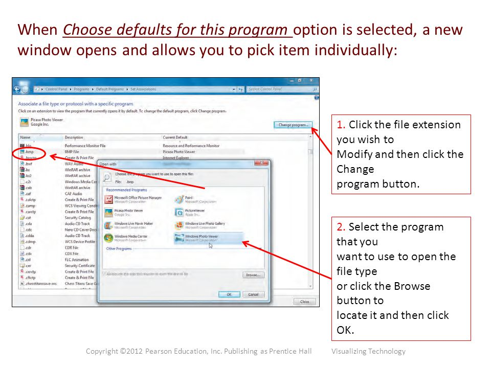 When Choose defaults for this program option is selected, a new window opens and allows you to pick item individually: 1. Click the file extension you