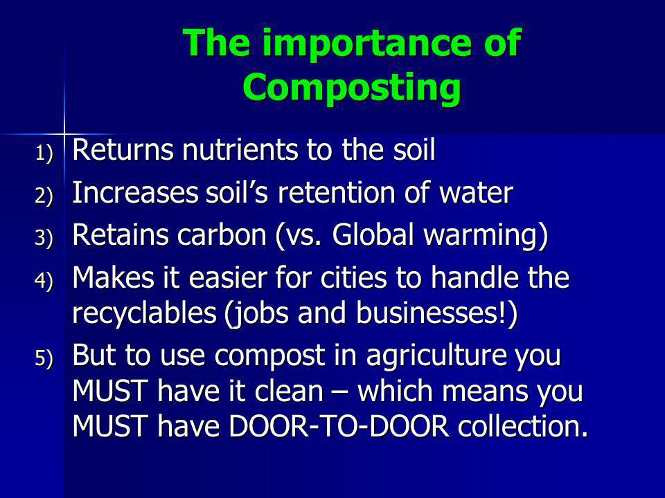 The importance of Composting 1) Returns nutrients to the soil 2) Increases soil's retention of water 3) Retains carbon (vs.