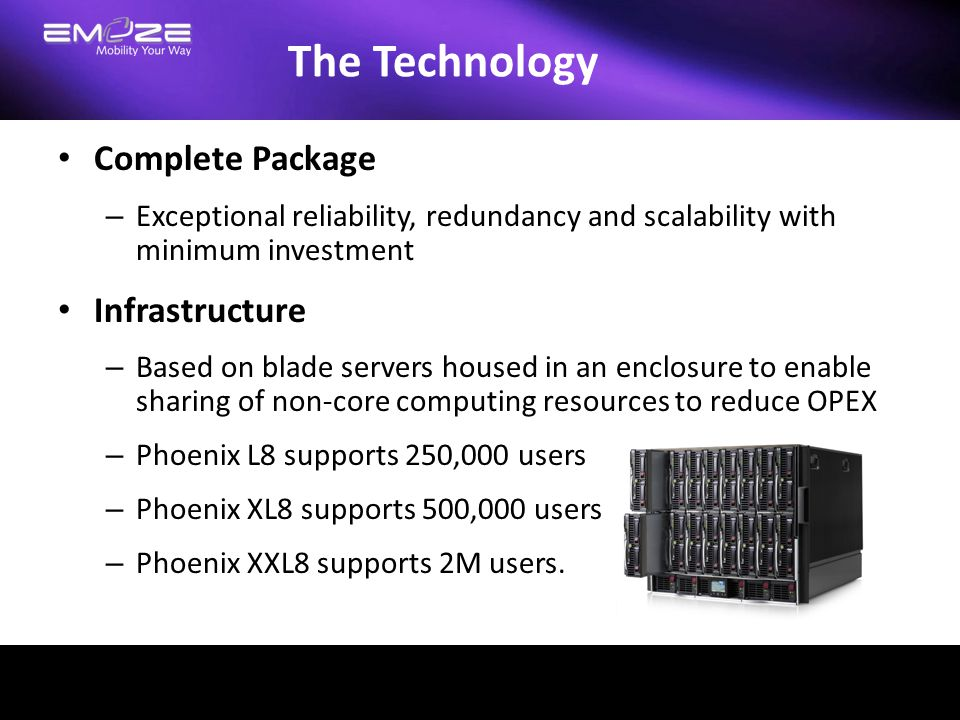 The Technology Complete Package – Exceptional reliability, redundancy and scalability with minimum investment Infrastructure – Based on blade servers