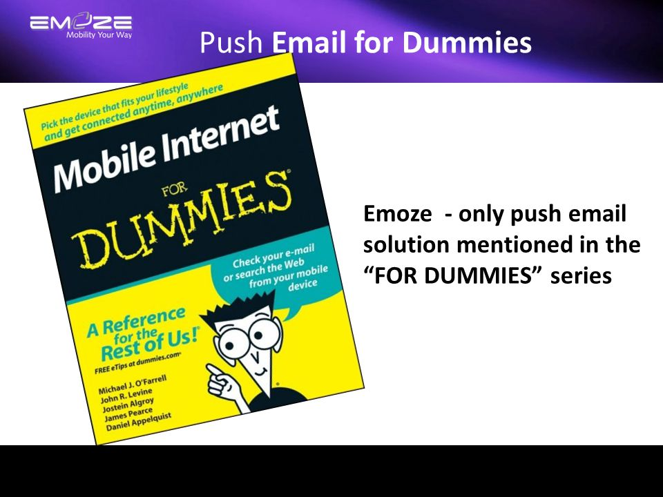 """Push Email for Dummies Emoze - only push email solution mentioned in the """"FOR DUMMIES"""" series"""
