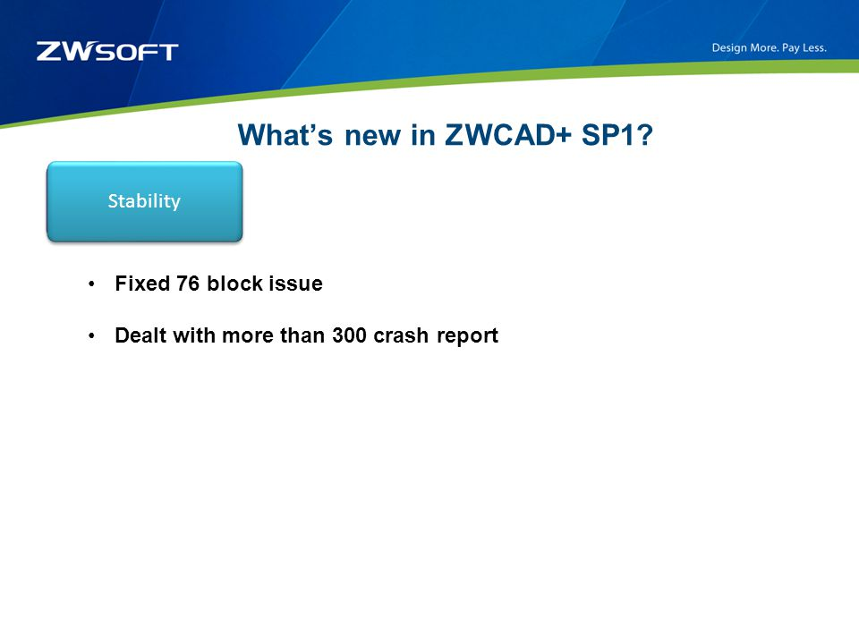 What's new in ZWCAD+ SP1? New featuresBug fixed Fixed 76 block issue Dealt with more than 300 crash report Stability