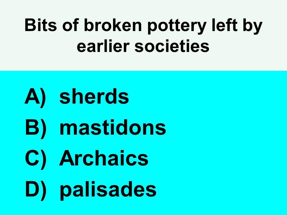 Bits of broken pottery left by earlier societies A) sherds B) mastidons C) Archaics D) palisades
