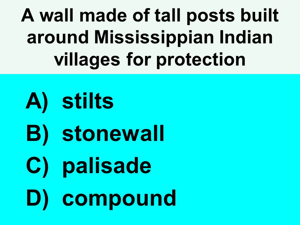 A wall made of tall posts built around Mississippian Indian villages for protection A) stilts B) stonewall C) palisade D) compound