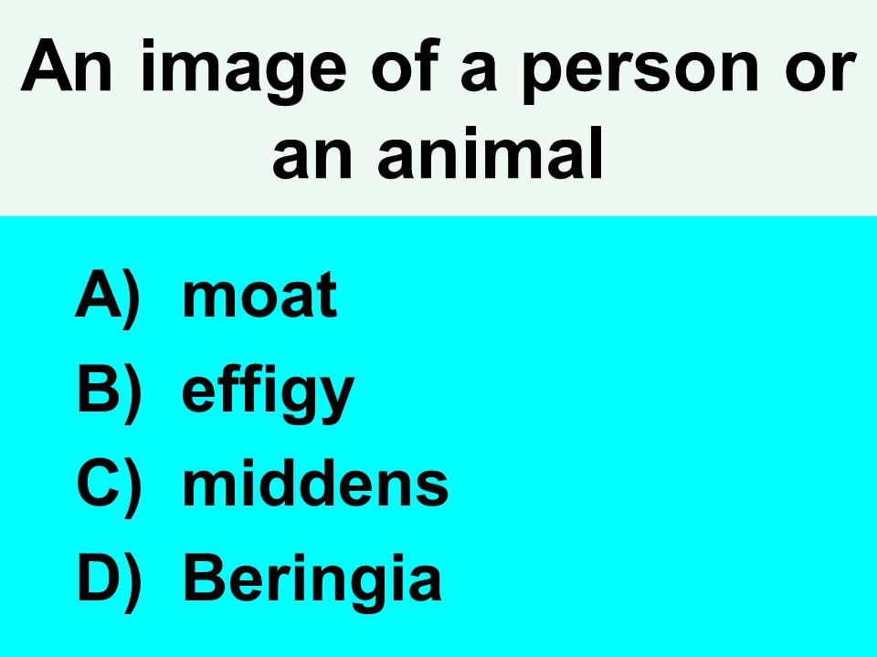 An image of a person or an animal A) moat B) effigy C) middens D) Beringia