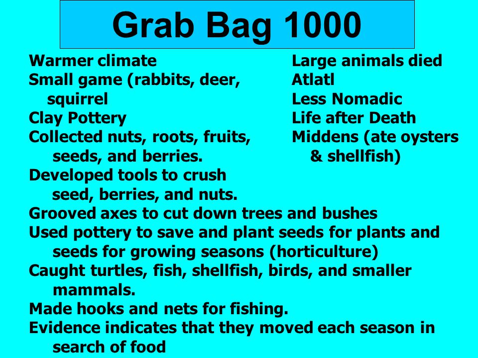 Grab Bag 1000 Warmer climateLarge animals died Small game (rabbits, deer, Atlatl squirrelLess Nomadic Clay PotteryLife after Death Collected nuts, roo