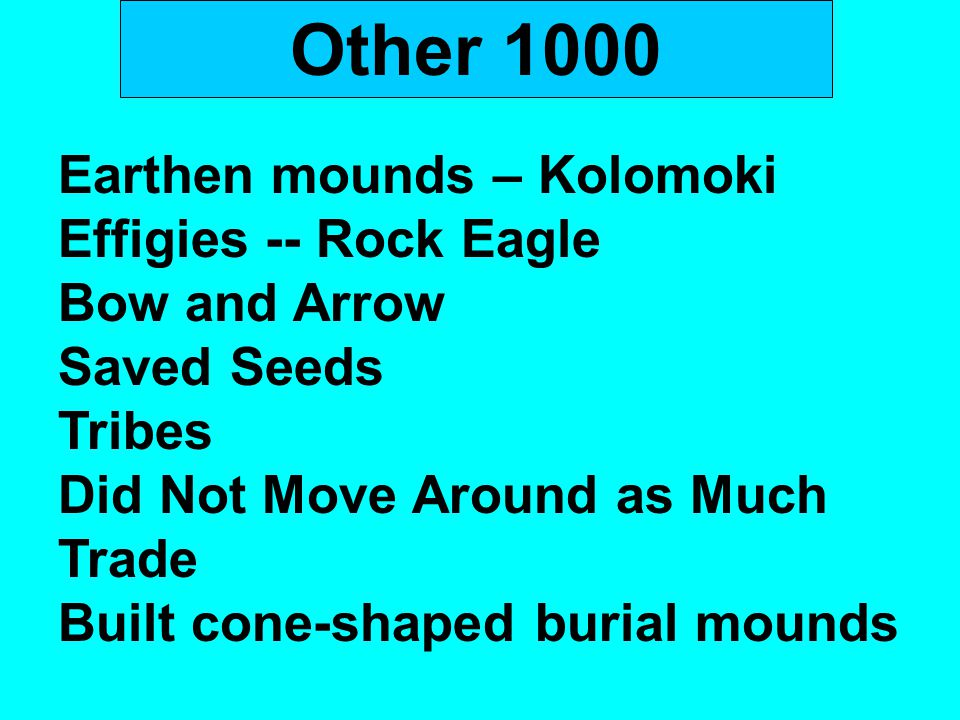 Other 1000 Earthen mounds – Kolomoki Effigies -- Rock Eagle Bow and Arrow Saved Seeds Tribes Did Not Move Around as Much Trade Built cone-shaped buria