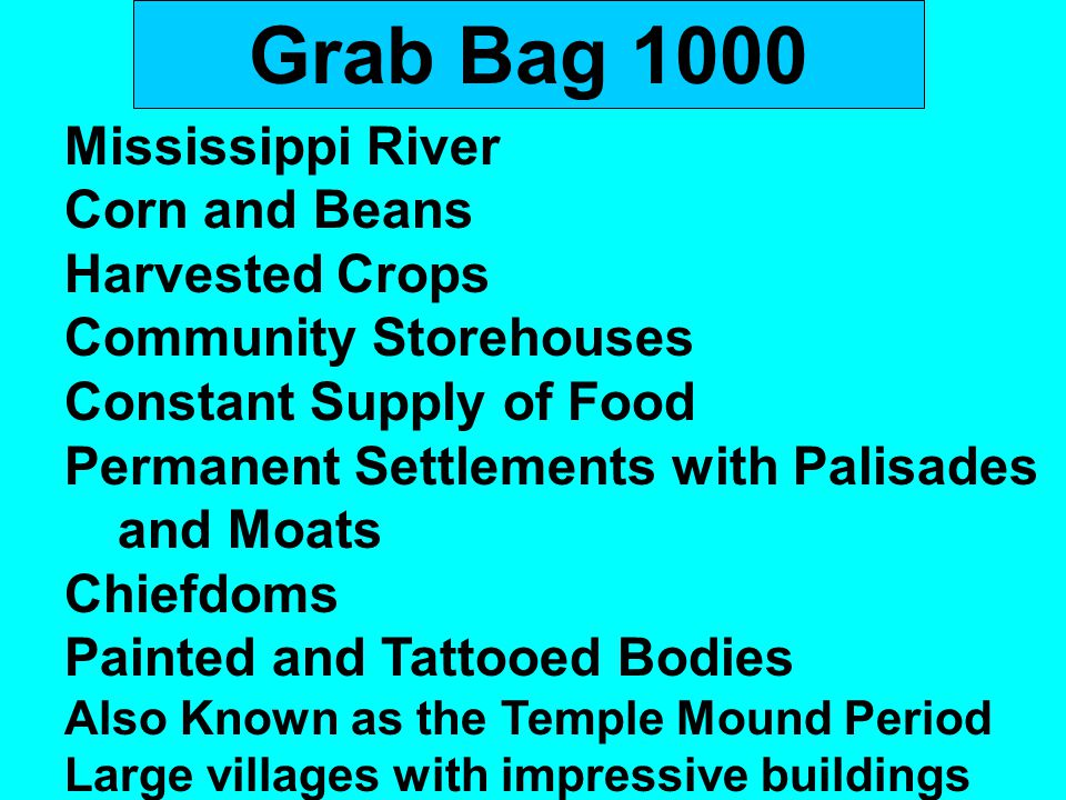Grab Bag 1000 Mississippi River Corn and Beans Harvested Crops Community Storehouses Constant Supply of Food Permanent Settlements with Palisades and