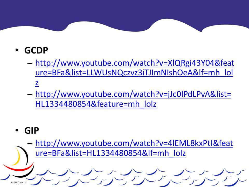 GCDP – http://www.youtube.com/watch v=XlQRgi43Y04&feat ure=BFa&list=LLWUsNQczvz3iTJImNIshOeA&lf=mh_lol z http://www.youtube.com/watch v=XlQRgi43Y04&feat ure=BFa&list=LLWUsNQczvz3iTJImNIshOeA&lf=mh_lol z – http://www.youtube.com/watch v=jJc0lPdLPvA&list= HL1334480854&feature=mh_lolz http://www.youtube.com/watch v=jJc0lPdLPvA&list= HL1334480854&feature=mh_lolz GIP – http://www.youtube.com/watch v=4lEML8kxPtI&feat ure=BFa&list=HL1334480854&lf=mh_lolz http://www.youtube.com/watch v=4lEML8kxPtI&feat ure=BFa&list=HL1334480854&lf=mh_lolz