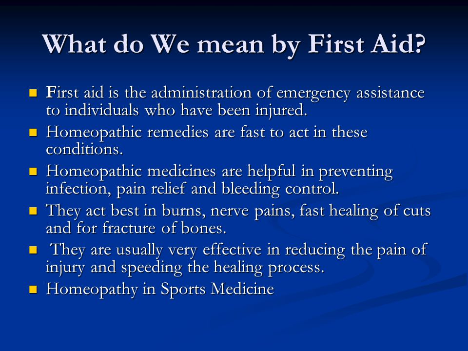 What do We mean by First Aid? First aid is the administration of emergency assistance to individuals who have been injured. First aid is the administr