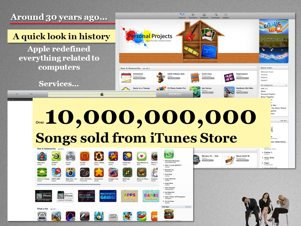 Around 30 years ago… A quick look in history Apple redefined everything related to computers Services… Over 10,000,000,000 Songs sold from iTunes Store