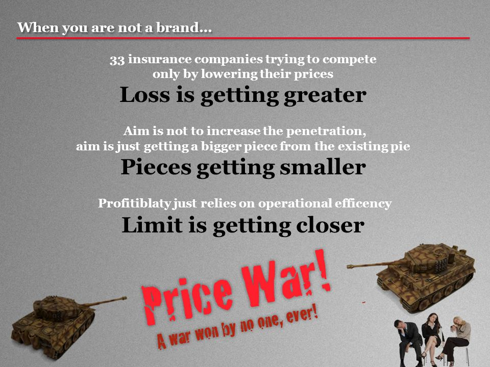 When you are not a brand… 33 insurance companies trying to compete only by lowering their prices Loss is getting greater Aim is not to increase the penetration, aim is just getting a bigger piece from the existing pie Pieces getting smaller Profitiblaty just relies on operational efficency Limit is getting closer