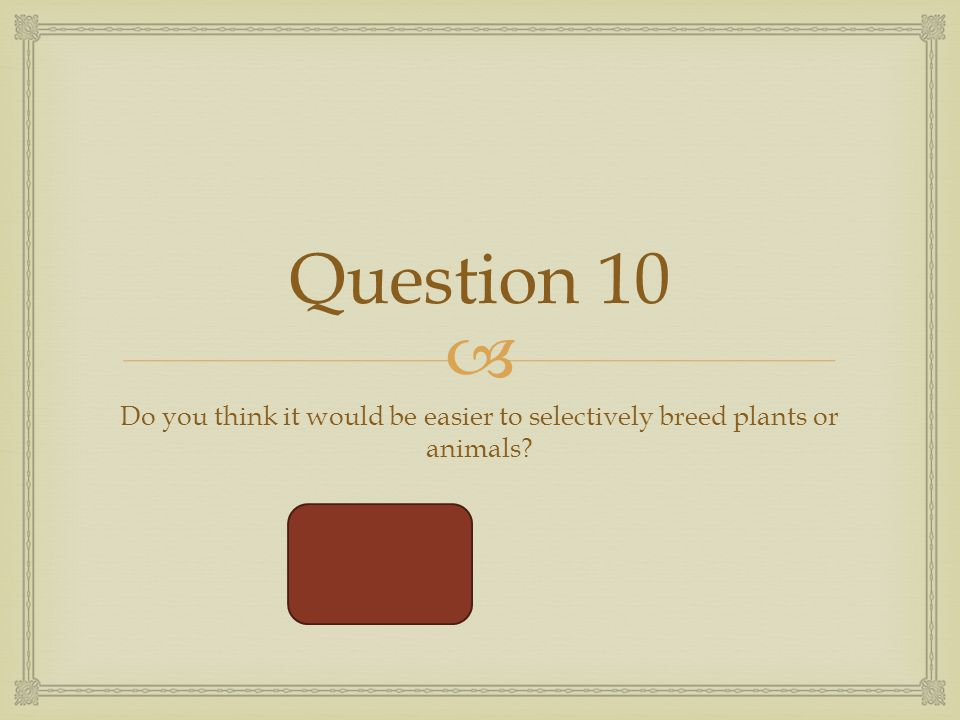  Question 10 Do you think it would be easier to selectively breed plants or animals plants