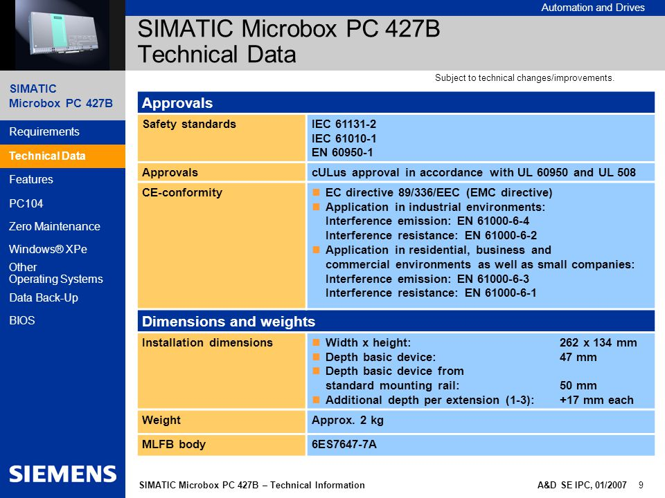 SIMATIC Microbox PC 427B Automation and Drives A&D SE IPC, 01/2007 9SIMATIC Microbox PC 427B – Technical Information Requirements Technical Data Features PC104 Zero Maintenance Windows® XPe Other Operating Systems Data Back-Up BIOS SIMATIC Microbox PC 427B Technical Data Approvals Safety standardsIEC 61131-2 IEC 61010-1 EN 60950-1 ApprovalscULus approval in accordance with UL 60950 and UL 508 CE-conformity EC directive 89/336/EEC (EMC directive) Application in industrial environments: Interference emission: EN 61000-6-4 Interference resistance: EN 61000-6-2 Application in residential, business and commercial environments as well as small companies: Interference emission: EN 61000-6-3 Interference resistance: EN 61000-6-1 Dimensions and weights Installation dimensions Width x height:262 x 134 mm Depth basic device:47 mm Depth basic device from standard mounting rail:50 mm Additional depth per extension (1-3):+17 mm each WeightApprox.