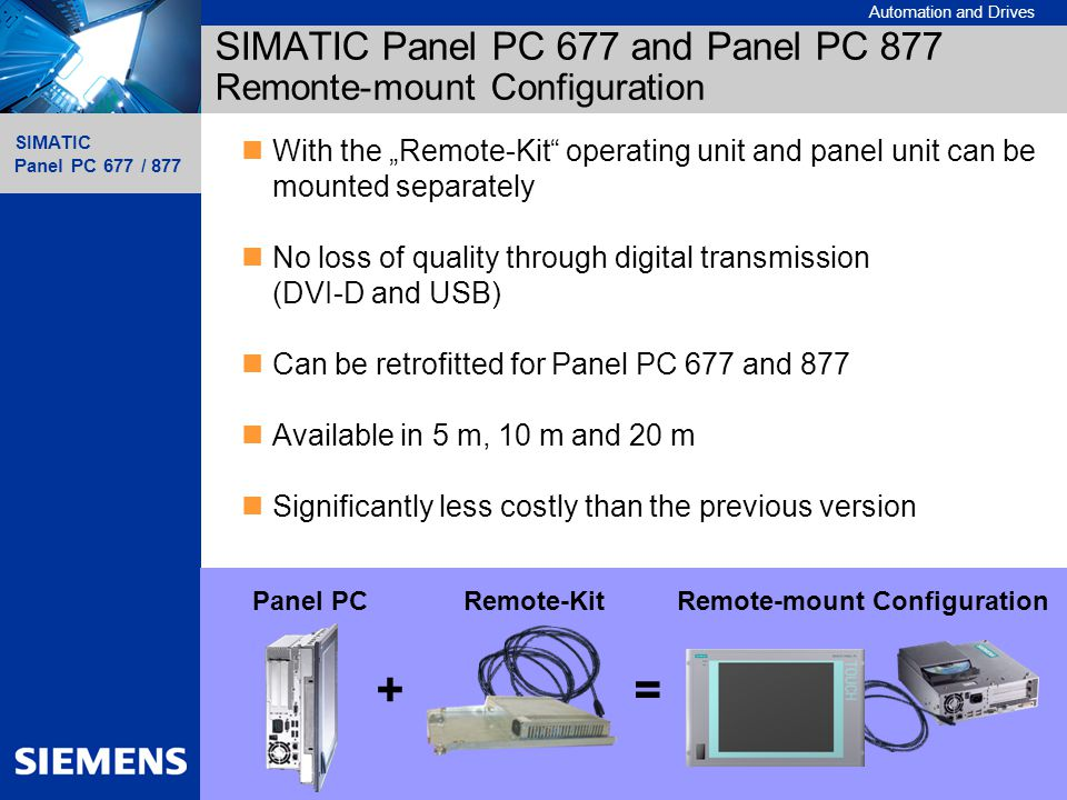 Automation and Drives SIMATIC Panel PC 677 / 877 25 Sales Promotion Slides SIMATIC Panel PC 677 / 877 A&D AS SM MP SIMATIC Panel PC 677 and Panel PC 8