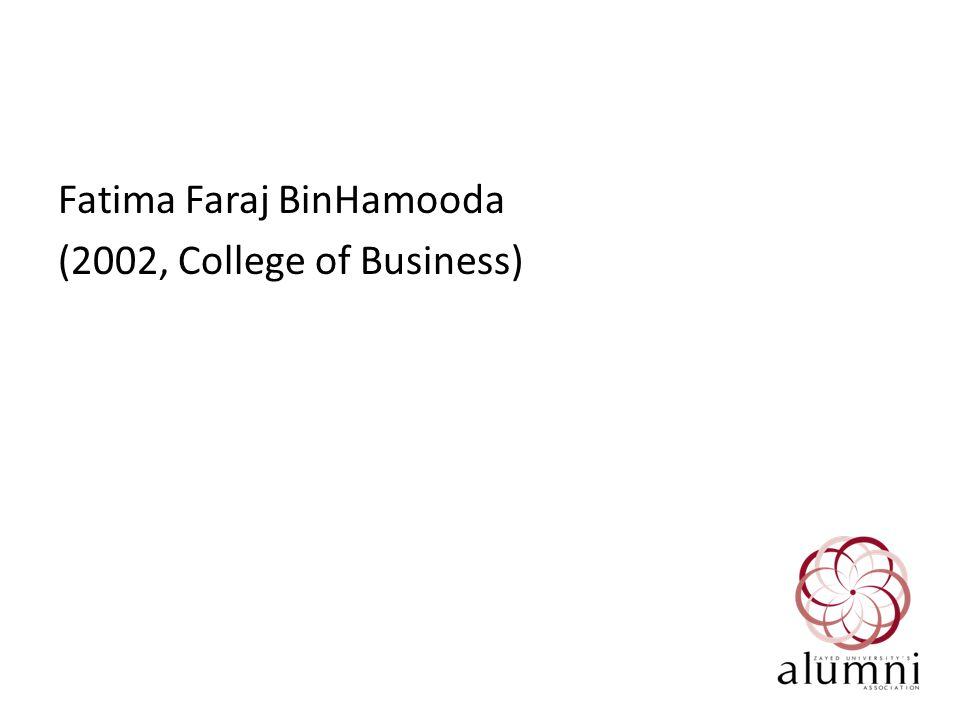 Fatima Faraj BinHamooda (2002, College of Business)