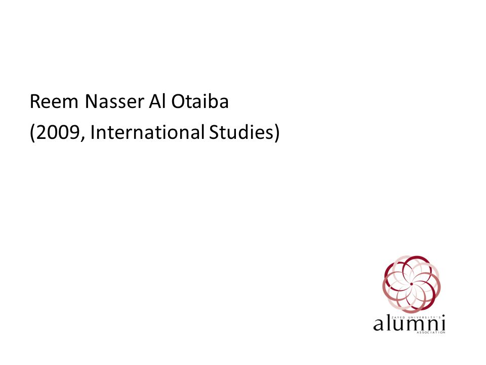 Reem Nasser Al Otaiba (2009, International Studies)
