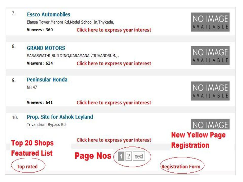 Yellow Pages Registration form