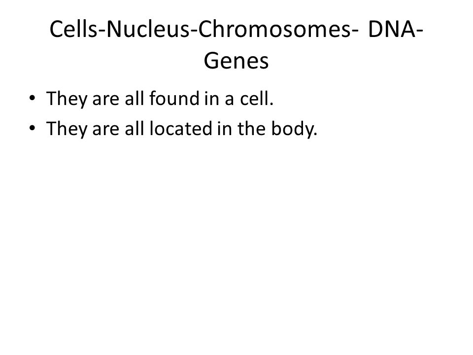 Cells-Nucleus-Chromosomes- DNA- Genes They are all found in a cell.
