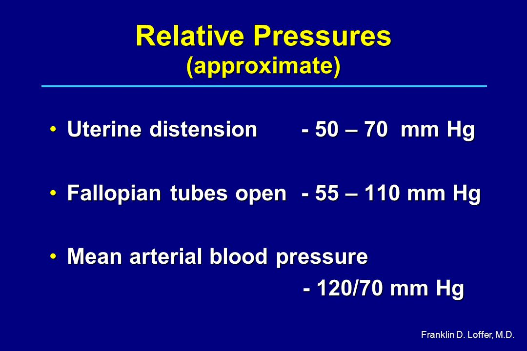 Relative Pressures (approximate) Uterine distension- 50 – 70 mm HgUterine distension- 50 – 70 mm Hg Fallopian tubes open- 55 – 110 mm HgFallopian tubes open- 55 – 110 mm Hg Mean arterial blood pressureMean arterial blood pressure - 120/70 mm Hg - 120/70 mm Hg