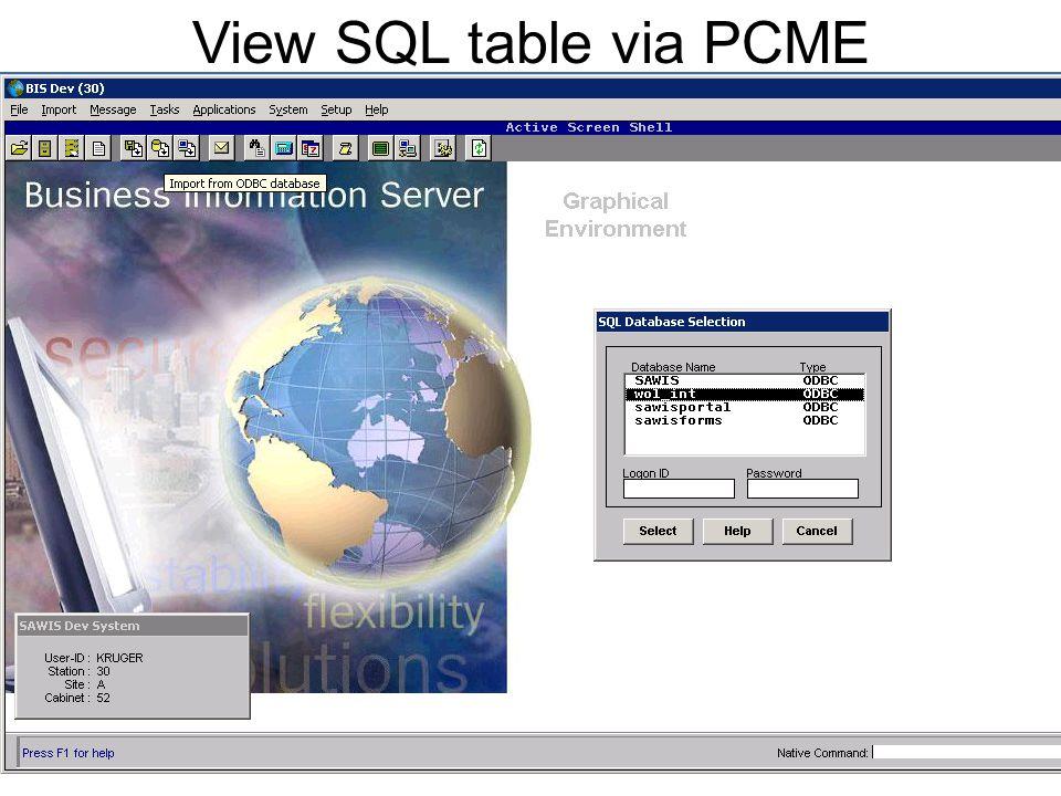 View SQL table via PCME