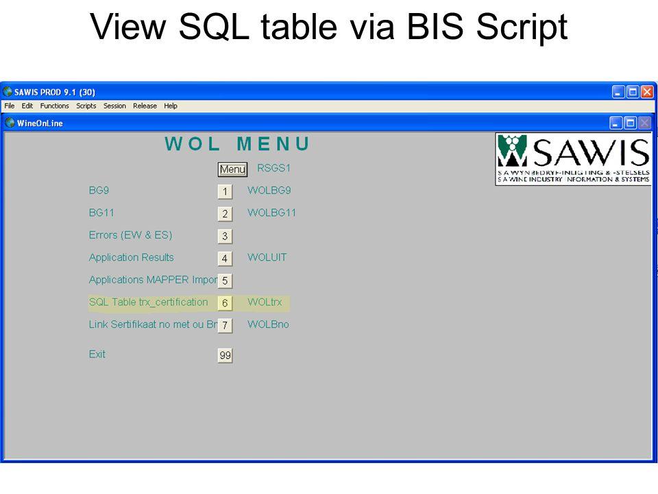 View SQL table via BIS Script